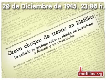 Recorte prensa Accidente tren Matillas 1945