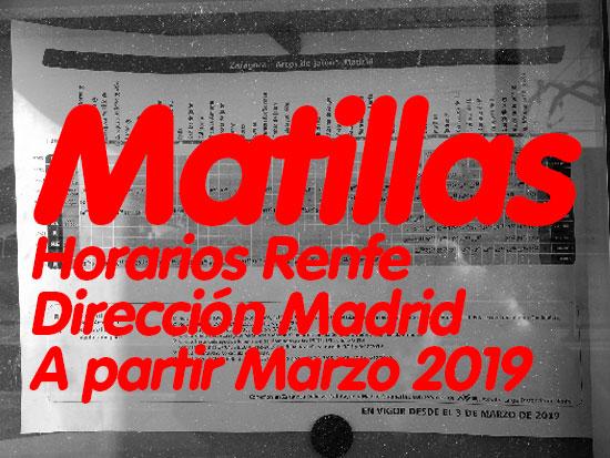 Horarios Renfe Matillas - Madrid