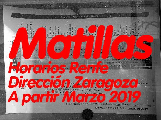 Horarios Renfe Matillas - Zaragoza
